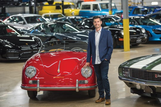 """Portraits of Matt Maisano, owner of Motorcar Manor in Ramsey, poses a photo with some of the collectable cars (L to R), 2020 McLaren 720s Spider, 1957 Parsche 356 Speedster and 1069 Chevrolet Camaro Z28, in his warehouse, photographed on 06/25/19.  1957 Porsche 356 Speedster """"In 1957, there were three Porsche models available: the Coupe, Cabriolet and the Speedster,"""" Maisano says. """"The Speedster — which was the cheapest model — is lighter, with no windows, a lower windshield and no comfort options (radio). This made it very popular in the racing world. Because so many were raced and only 1,171 produced in 1957, the Speedster is extremely rare and highly coveted by most automotive enthusiasts."""""""