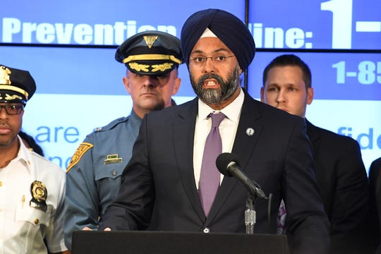 Attorney General Gurbir Grewal speaks during a press conference announcing a directive promoting emotional and mental well-being for New Jersey law enforcement officers at the Newark Police Department Communications Center in Newark on Tuesday, August 6, 2019.