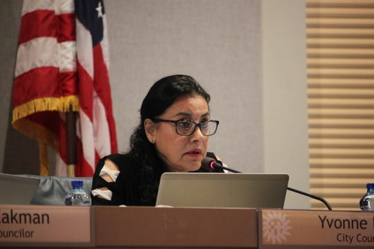 Las Cruces City Councilor Yvonne Flores raised questions about the parameters of federal Operation Stonegarden grants during the city council's meeting on Monday, August 5, 2019.