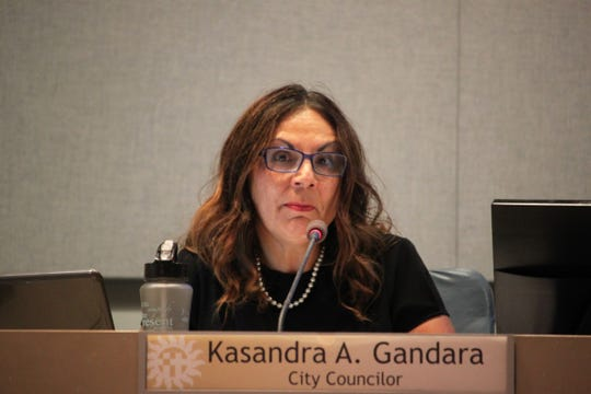 District 1 councilor Kasandra Gandara speaks during the Las Cruces City Council meeting on Monday, August 5, 2019.