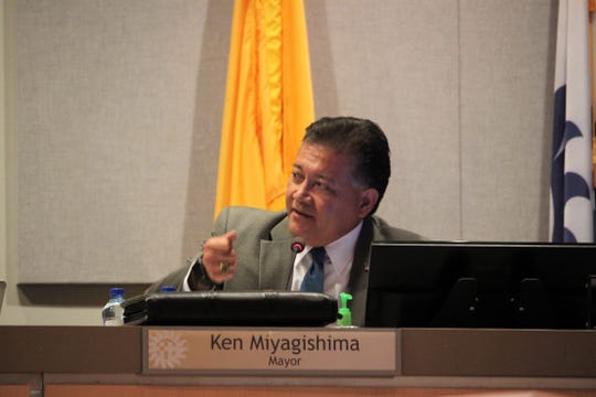 Las Cruces Mayor Ken Miyagishima speaks during the Las Cruces City Council meeting on August 5, 2019.