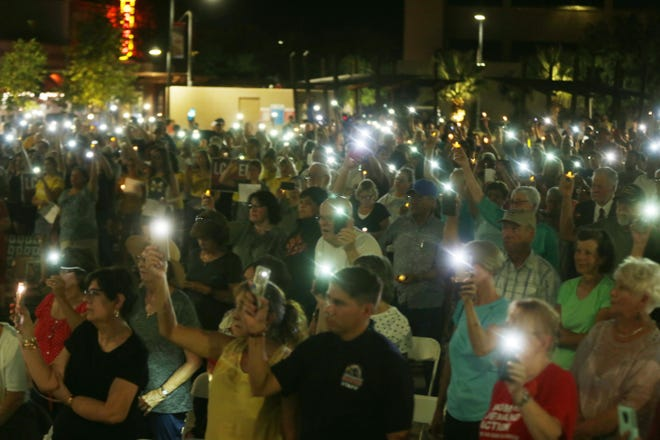 Residents of Las Cruces gather Monday, August 5, 2019, to honor the victims of the shooting in El Paso on Aug. 3.