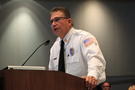 Las Cruces Fire Department Chief Eric Enriquez presented the Las Cruces City Council with an update on the city's emergency assistance center for migrants at the council's meeting on Monday, August 5, 2019.