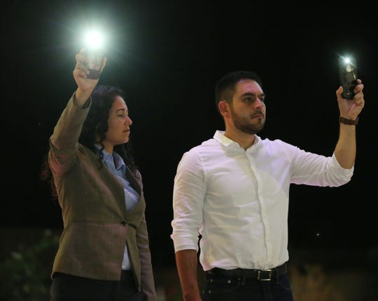 U.S. Rep. Xochitl Torres-Small, D-N.M., and Las Cruces City Councilor Gabe Vasquez participate in a solidarity event Monday, Aug. 5, 2019, at Plaza de Las Cruces.