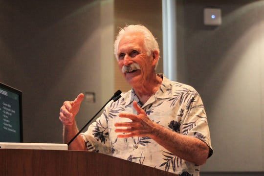 Charles Wendler of Las Cruces criticized the Las Cruces City Council for refusing federal funds for Operation Stonegarden while seeking FEMA funding for the city's emergency center for migrants, at the council meeting on Monday, August 5, 2019.