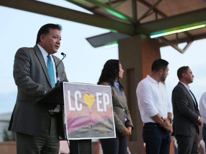 Las Cruces Mayor Ken Miyagishima speaks at a solidarity event Monday, Aug. 5, 2019, at Plaza de Las Cruces.
