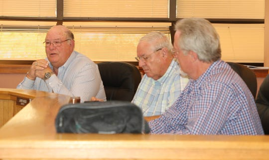 (From left)-District 1 Eddy County Commissioner Ernie Carlson, District 3 Commissioner Larry Wood and Eddy County Attorney Cas Tabor during the Aug. 6 Eddy County Board of Commissioners meeting in Carlsbad.