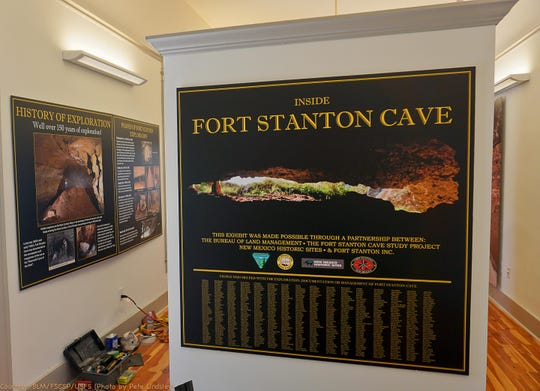 The entry display lists nearly 700 individuals who participated over 50 years in the exploration of Fort Stanton Cave.  The exhibit was created by a partnership with the Bureau of Land Management, Fort Stanton Cave Study Project, Fort Stanton Inc. and New Mexico Historic Sites.