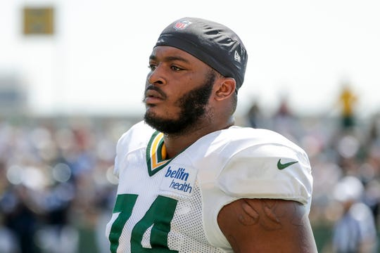 Packers guard Elgton Jenkins (74) during a joint training camp practice with the Houston Texans at Ray Nitchske Field Tuesday, August 6, 2019, in Ashwaubenon, Wis.