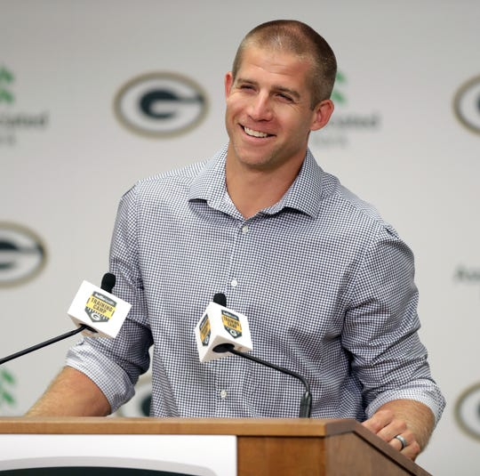 Former wide receiver Jordy Nelson answers questions during a news conference Tuesday about his decision to retire with the Green Bay Packers.