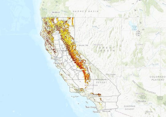 The Cal Fire Tree Mortality Viewer shows tree death has been