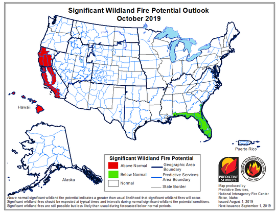 Oct. 2019 wildfire potential outlook indicates above normal threat through California's later fire season