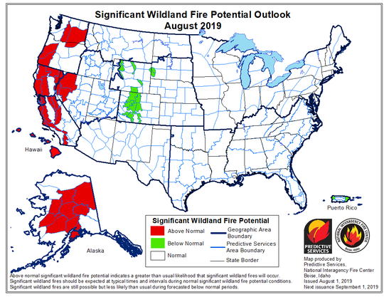 Aug. 2019's wildfire potential outlook