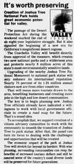 A 1994 Desert Sun newspaper clip on Joshua Tree National Park
