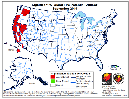 Sept. 2019 wildfire potential outlook indicates above normal fire risk will be primarily concentrated in norther California's forested areas.