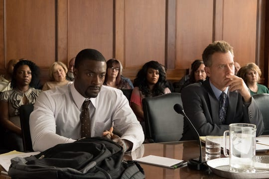 "Aldis Hodge (left) and Greg Kinnear star in ""Brian Banks."""