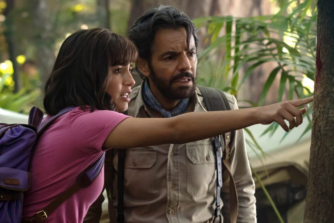 "Who is leading who? Dora (Isabela Moner) and Alejandro (Eugenio Derbez) team for adventure in ""Dora and the Lost City of Gold."""