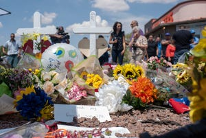 Hundreds of mourners every hour leave momentos for the 22 victims at the Cielo Vista Walmart two days after the deadly attack in El Paso, Texas, on August 5, 2019.