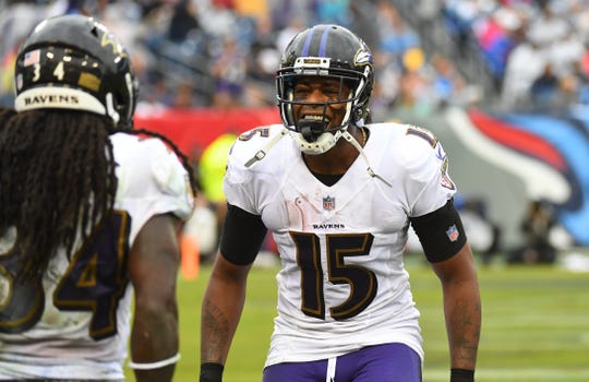 Michael Crabtree had 54 catches for 607 yards and three touchdowns for the Ravens last season.