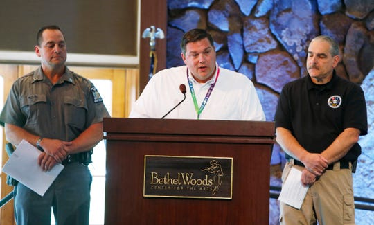 Eric Frances, Bethel Woods Center For The Arts general manger and CFO speaks about the center's preparations for the upcoming 50th anniversary of Woodstock during a press conference on August 6, 2019.