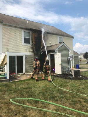 No one was hurt and no one was displaced when an exterior fire burned the back of a home in the 3400 block of Village Court Drive in Dover Twp. on Aug. 6, 2019.