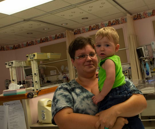 Erin Staub and her son, Tobias inside the Neonatal Intensive Care Unit (NICU) at York Hospital.