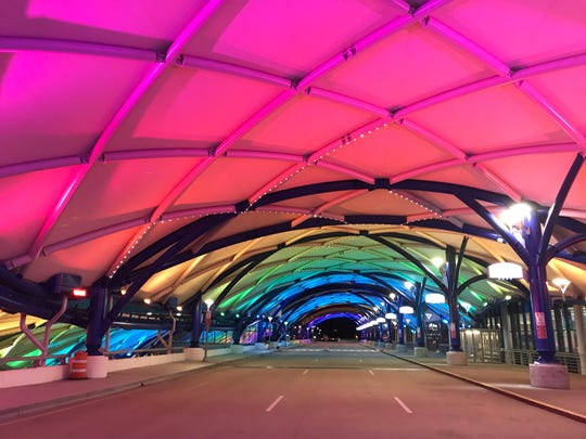 The illuminated canopy at the Greater Rochester International Airport.