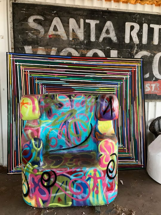 This chair and art piece pop with color, making it a good match for the upcoming Pop Art Museum, 125 E. Twohig.