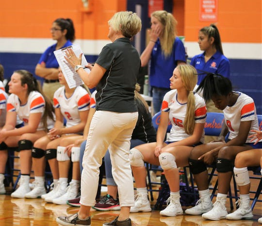 San Angelo Central head coach Connie Bozarth instructs the Lady Cats during the season opener against Abilene Wylie at Central's Trevino gym on Tuesday, Aug. 6, 2019.