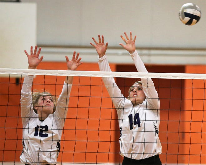 Wylie's Madison Burden (12) and Maggie Allen try to block a shot by San Angelo Central during a season-opening volleyball match Tuesday at Central's Trevino gym. Wylie won in four sets.