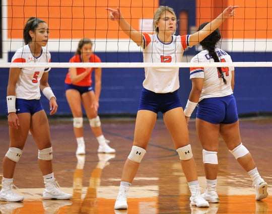 San Angelo Central's Mya Moore (5) and Presley Knowlton get ready for the next point against Abilene Wylie during the volleyball season opener at Central's Trevino gym on Tuesday, Aug. 6, 2019.