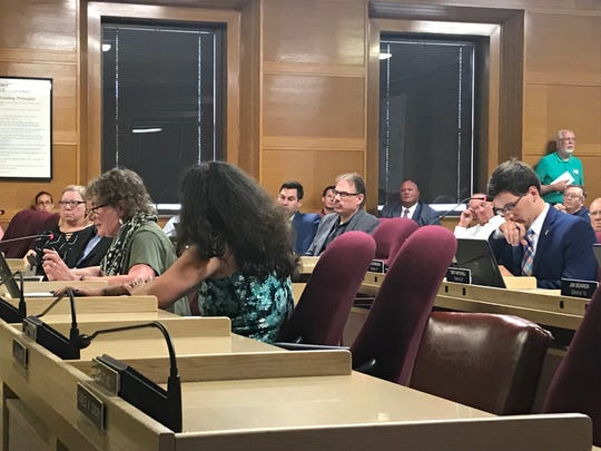 Alderperson Mary Lynne Donohue speaks at the Common Council meeting Monday, August 5, 2019 during a discussion on an ordinance banning conversion therapy on minors. The ordinance passed 8 to 1.