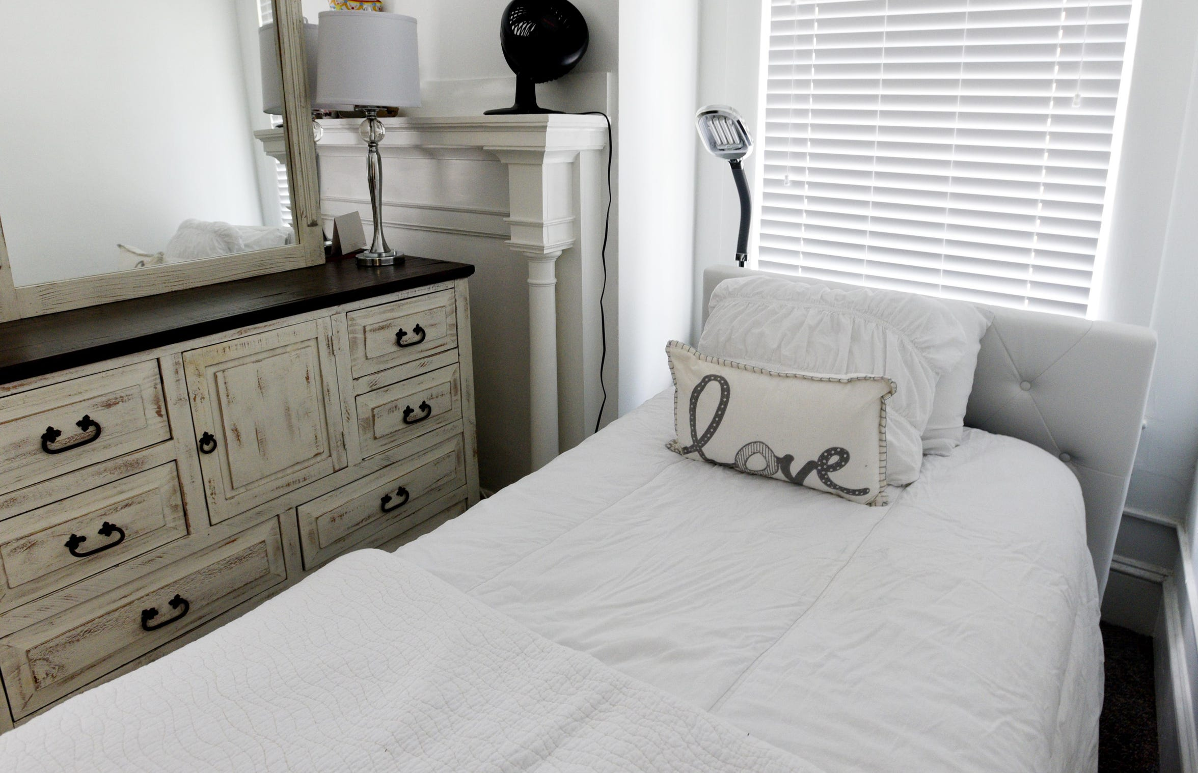 A bed at the Oakwood Home for Women.