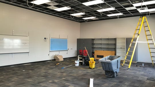 An new, unfinished ensemble room at Memorial Middle School in Sioux Falls is one of several new elements that are part of a band, orchestra and choral expansion to the campus to accommodate more than 400 students at any given time. The expansion will be complete be the beginning of the school year.