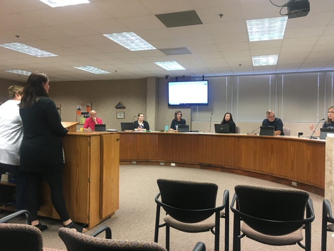Minnehaha County treasurer Pam Nelson speaks with Minnehaha County Commissioners about bank reconciliation statements at the regular meeting Tuesday, Aug. 6, 2019.
