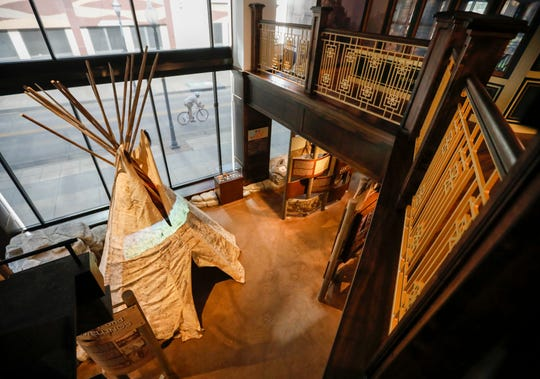 A look down at the Native American exhibit at the History Museum on the Square from the second floor. The museum is located at 154 Park Central Square and will have its grand opening on Thursday, Aug. 8, 2019.