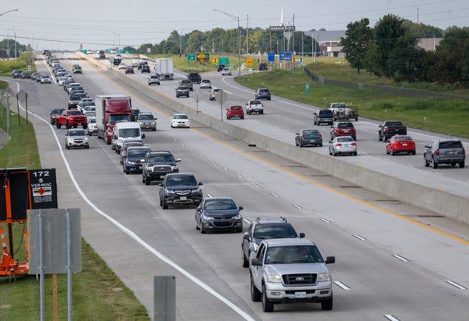 Traffic backs up on U.S. Highway 65 on Aug. 5, 2019.
