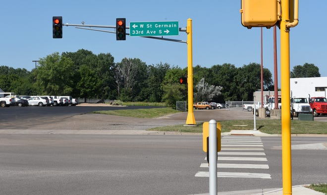 A 105-unit apartment building planned southeast of Heritage Park will have an access at 33rd Avenue South and West St. Germain Street. The intersection is pictured Tuesday, Aug. 6, 2019, in St. Cloud.