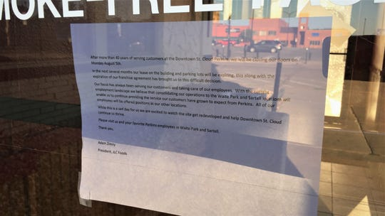 """A sign posted to the door of the downtown St. Cloud Perkins on Tuesday, Aug. 6, 2019, states the business will be closing its door after """"more than 40 years of serving customers."""""""