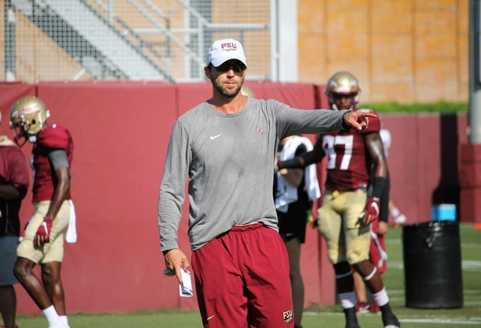 Offensive coordinator Kendal Briles at FSU football practice on Aug. 6, 2019.