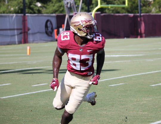 Wide receiver Jordan Young at FSU football practice on Aug. 6, 2019.