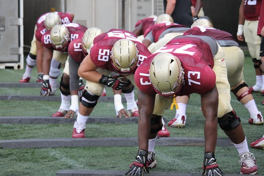 FSU's starting offensive line at FSU football practice on Aug. 6, 2019.