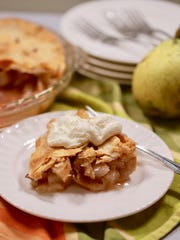 The best pears for a pie are the old-fashioned hard sand pears from a backyard pear tree.
