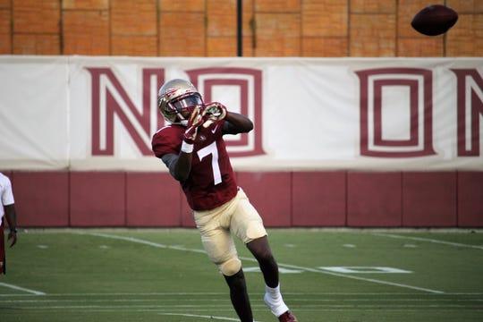 Wide receiver D.J. Matthews at FSU football practice on Aug. 6, 2019.