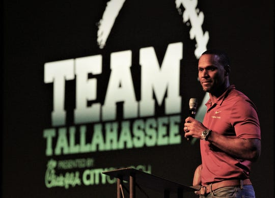 Former FSU great Peter Boulware was the keynote speaker at the sixth-annual Team Tallahassee kick-off dinner at City Church on Aug. 5, 2019.