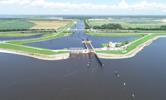 The Port Mayaca Lock at Lake Okeechobee in western Martin County is seen in an aerial image Monday, July 1, 2019. Under a proposal to be presented Thursday to the South Florida Water Management's District's board, the agency would increase the number of water quality monitoring sites from 163 to 243.