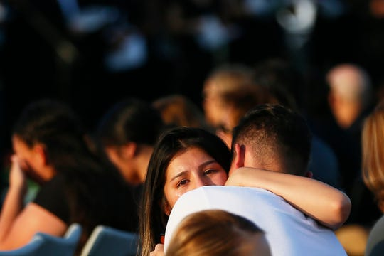 Horizon High School vigil for Javier Rodriguez Aug. 5, 2019, at the high school football field. Rodriguez killed Saturday while shopping with his uncle at Walmart. He attended Horizon last year as a freshman.