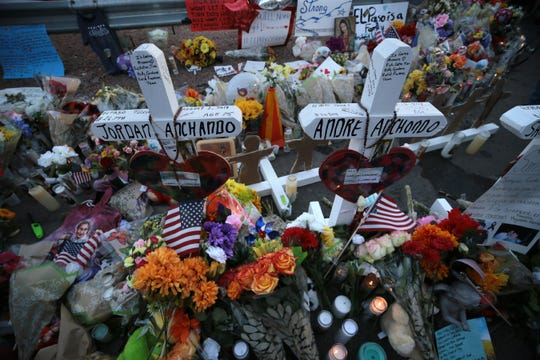 Crosses at a makeshift memorial bear the names of the 22 people killed at an El Paso Walmart Aug. 3. Twenty-two people were killed and dozens injured. The memorial was located behind the Cielo Vista area store for months.