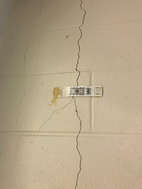 Marathon County officials installed meters to monitor cracking in the walls at the county jail.