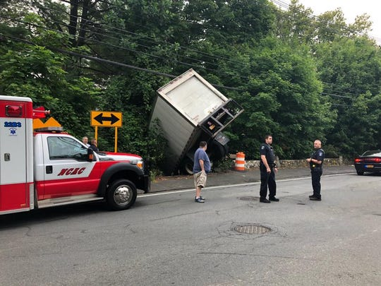 A truck driver crashed through a rock wall on Strawtown Road in West Nyack on Aug. 6, 2019.